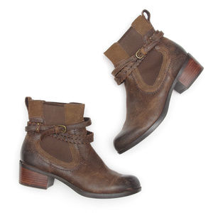 UGG Krewe Oiled Leather Heel Boots Brown Booties